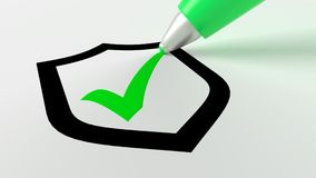 Green pen setting a checkmark in a black shield symbol Royalty Free Stock Photo