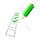 Green pencil with drawn ticks Royalty Free Stock Image