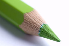 Green pencil. Macro shoot of green colored wooden pencil Stock Photography