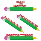 Green pencil and back to school Stock Image