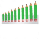 Green pencil bar graph Royalty Free Stock Photos