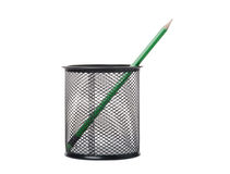 Green pencil in a black holder Stock Images