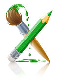 Green pencil and brush with paint. Illustration isolated on white background Royalty Free Stock Image