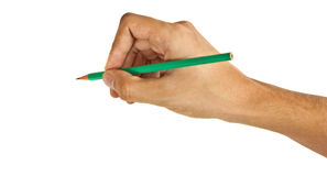 Green pencil in hand Stock Photography