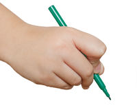 Green pencil in hand isolated Stock Photo