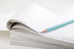 Green Pencil and Notebook Royalty Free Stock Photography