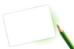 Green pencil and paper Stock Image