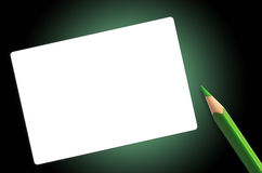 Green pencil and paper. For any types of massage Stock Photo