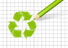 Green pencil with recycling symbol Royalty Free Stock Image