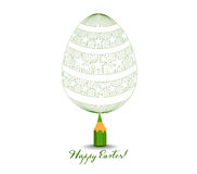Green Pencil with Reflection Drawing Easter Egg on White Background Stock Image