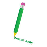 Green pencil and save nature word Royalty Free Stock Image