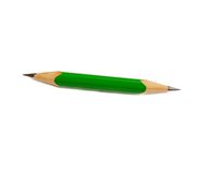 Green pencil sharpened at both the ends Stock Photo