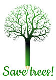 Green pencil with tree branches Royalty Free Stock Photo