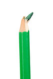 Green pencil vertically with broken tip Royalty Free Stock Photography