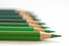 Green pencils diagonal. A shot of pencils i made in my home studio. I like the point of sharpness royalty free stock image