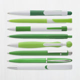 Green ball pens collection, with PS path Stock Images