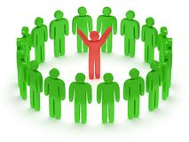 Green people around red man. 3D render. Stock Image