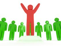 Green people around red man. 3D render. Royalty Free Stock Image