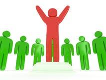 Green people around red man. 3D render. Royalty Free Stock Image