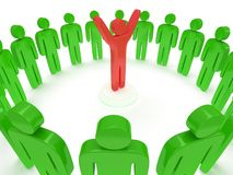 Green people around red man. 3D render. Royalty Free Stock Images