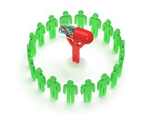 Green people around red man with pill. 3D render. Stock Image