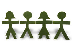 Green People in a Chain stock photography