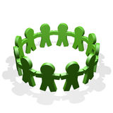 Green people connected in a circle holding their hands Royalty Free Stock Photography