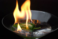 Green pepper. A green pepper on fire Royalty Free Stock Photos