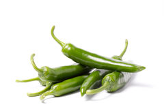 Green Pepper. Group of green peppers  on white Stock Photography