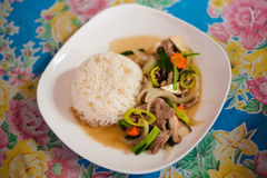 Green pepper beef vegetable stirfry. Fresh prepared asian hot green pepper, vegetables and beef stirfry served on jasmine rice. Traditional thai cuisine made of Royalty Free Stock Images