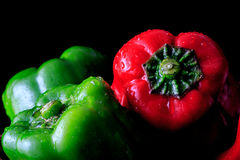 Green pepper on black background. Green pepper, pimiento, pimento on black background Royalty Free Stock Photos