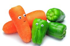 Green pepper and carrot Royalty Free Stock Photos