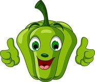 Green Pepper Character giving thumbs up Royalty Free Stock Images