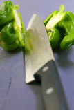 Green pepper cut in half Royalty Free Stock Photos