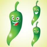 Green pepper face expression cartoon character set Stock Photos
