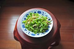 Green pepper and green soy bean with bean curds Royalty Free Stock Photos