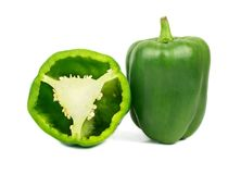 Green pepper with half Stock Photo