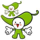The Green pepper mascot has been welcomed with both hands. Veget Stock Photos