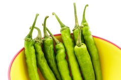 Green pepper and Plastic bowl Stock Photo