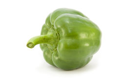 Green pepper (profile). A whole fresh bright Green Pepper on its side, isolated on a white background Stock Photo