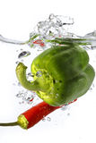 Green pepper and red chili dropped into water Stock Images