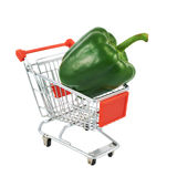 Green pepper in a shipping cart Royalty Free Stock Photo