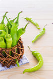 Green pepper in a small pot. Stock Image