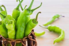 Green pepper in a small pot. Stock Photos
