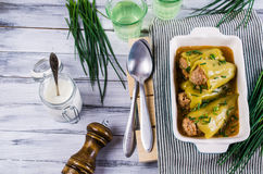 Green pepper stuffed. With meat in broth. Selective focus Stock Photography