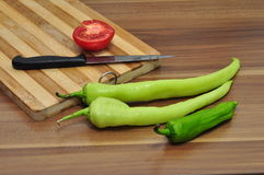 Green Pepper and Tomato Stock Photography
