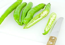 Green pepper were cut into pieces Stock Image