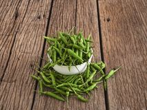 green pepper in a white bowl stock photo
