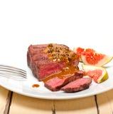 Green peppercorn beef filet mignon Stock Photos