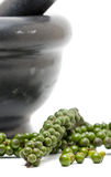 Green peppercorns with mortar Stock Photos